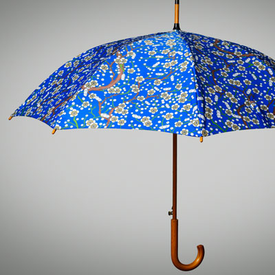 Blue golf umbrella with hook handle