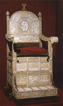 Throne, covered with ivory plates